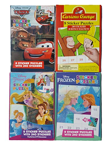 Disney Ultimate Sticker Books and Puzzles with 960 Stickers: Princesses, Frozen Pixar Cars and Curious George Set
