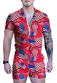 UNIFACO Men s Short Sleeve Flag Printed Male Romper Summer Zip-Front Shirts Cargo Pants Slim Fit Party Overalls Shorts