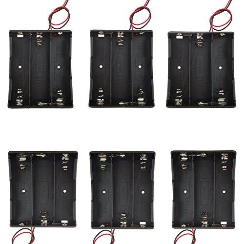 Sackorange 6 pcs 3 x 3.7V Battery Holder,18650 Battery Storage Case Plastic Box Holder Leads with 3 Slots for 6' Wire Leads(6 pcs 3x18650)