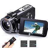 1080PCaméscope, FHD 36MP Caméra Vidéo Numérique Zoom 16X avec Version Nuit IR, 3' LCD Écran et Télécommande sans Fil, Webcam pour Filmer Vlog Youtube
