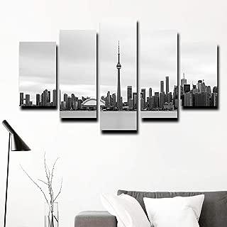 woplmh Printed Poster Home Decor Wall Art Frame 5 Pieces City Scenery Paintings Modular Canvas Toronto Skyline-40x60cmx2 40x80cmx2 40x100cmx1 No Frame