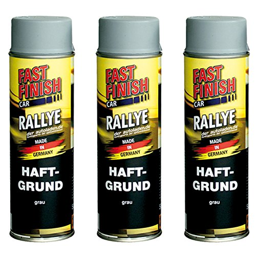 3x 500 ml FAST FINISH Car Rallye Haftgrund Grundierung Grau Spraydose 292811
