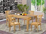 East West Furniture Dining Room Table Set 5 Pc - Oak Color Wooden Kitchen Dining Chairs Seat - Oak Finish Wood Table and Structure