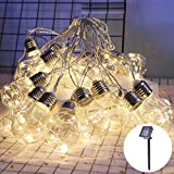 Catena Luminosa Esterno,5M 10LED Impermeabile Luce Stringa Solari Lucine Led Decorative per Esterno Giardino Matrimonio Natale