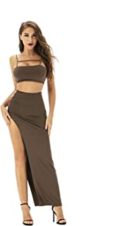 Women's Spaghetti Strap Crop Top Bodycon Hight Slit Long Maxi Skirt