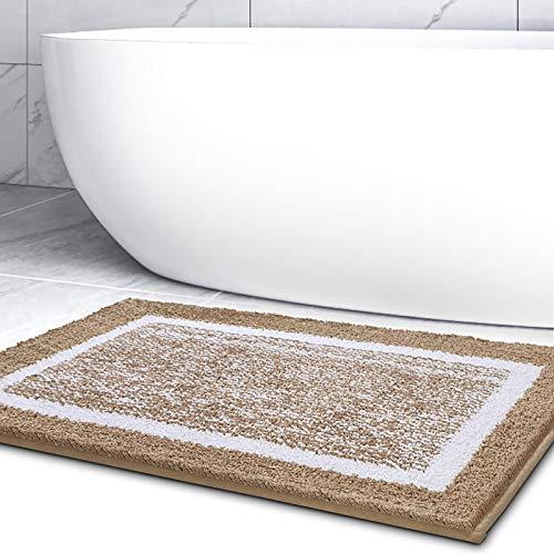Color&Geometry Badematte, rutschfeste Badteppich, Badezimmerteppich Weicher Badvorleger Maschinenwaschbar, Mikrofaser Absorbent Teppich für Badezimmer (60x90 cm, Braun)