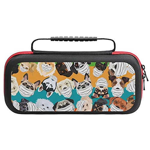 Dogs with Respirator Pattern Travel Carrying Case Tote Bag For Nintendo Switch Accessories Holds 20 Game Card Bag
