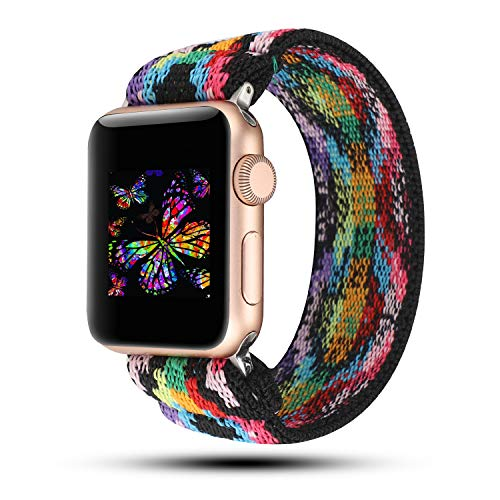 YOSWAN Stretchy Loop Strap Compatible for Apple Watch Band 40mm 38mm iWatch Series 6/5/4/3/2/1 Stretch Elastics Wristbelt Aztec Style Colorful (Multi-Colored, 38mm/40mm)