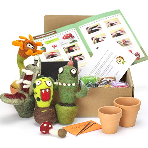 Woolbuddy Needle Felting Cactus Kit Make 4 Plus Cactus, Clay pots Included, Felting Foam Mat, 4...