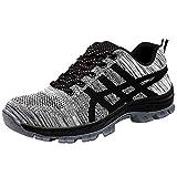 Deportivos Zapato Zapatillas De Seguridad para Hombres Trabajo con Tapa Acero Industria Calzado Antideslizantes Ligeras Gris 43 EU