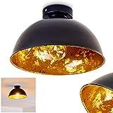 Deckenleuchte Nome, moderne Deckenlampe aus Metall in Schwarz/Gold, E27-Fassung, max. 60 Watt, Spot im Retro/Vintage-Design mit Blattgoldoptik, LED Leuchtmittel geeignet