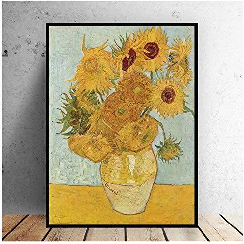 YANGMENGDAN Druck auf Leinwand Van Gogh Vase Sonnenblumen Impressionist Bild Ölgemälde auf Leinwand Wandkunst für Wohnzimmer Wohnkultur 40 x 60 cm (15,7