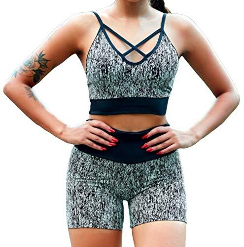 D.M. Conjunto Deportivo para Mujer en Tejido Jacquard Shorts Pantalones Cortos Y Top Sujetador Sports Bra