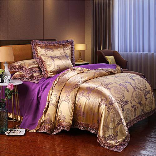 LCFCYY Fundas de Almohada,Juego de Funda nórdica de satén Sedoso, sábanas de Esquina Redondeadas para Dormitorio, Funda de Almohada de Encaje para Cama Individual Doble King R 220 * 240cm (4pcs)