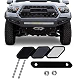 JINGSEN Tri-color grille badge logo decoration accessories car truck label Tacoma 4Runner Tundra Rav4 Highlander's T-G3Y three-color badge logo barbecue grill (White-Light gray-Black)