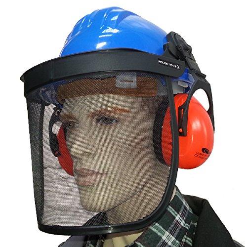Bouwhelm met gezichtsbescherming en gehoorbescherming hoofdbescherming helm bosbouwhelm net blauw