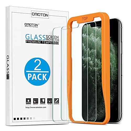 OMOTON Schutzfolie kompatible mit iPhone XS/iPhone X/iPhone 11 Pro,mit Schablone,9H Härte,Anti-Kratzen, Anti-Öl,5.8 Zoll