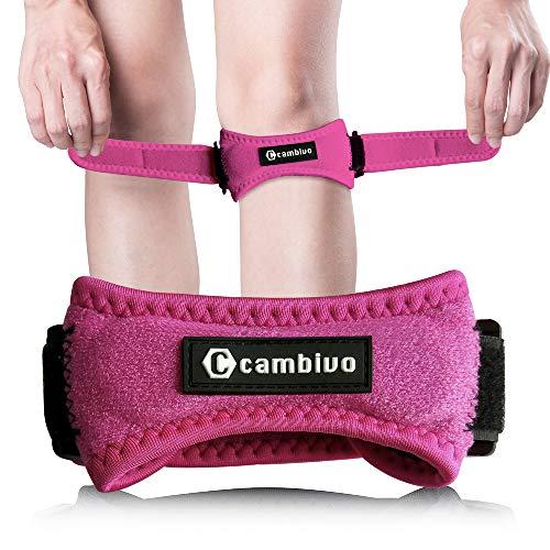 CAMBIVO 2 x Patella Kniebandage, Knieband, verstellbare Patella Band für Damen und Herren beim Sport, Wandern, Fitness, Baseball (Rosa)