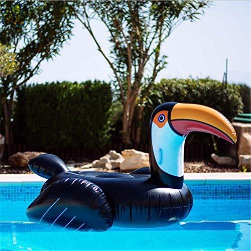 Hinchable Colchonetas 3D Toucan Gaint Piscina Colchón Colchoneta Tomar El Sol Tapete De Natación Aire Círculo Playa Fiesta De Agua De Mar -Adultura Flotante Black- 150 * 120 * 40cm