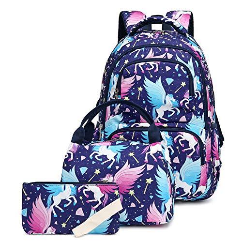 3 en 1 Mochila para Niños, Mochilas Escolares Juveniles, Nylon Impermeable Primaria Mochila Infantil 16' Gran Capacidad Colegio Viajes Mochilas Regalos, Azul