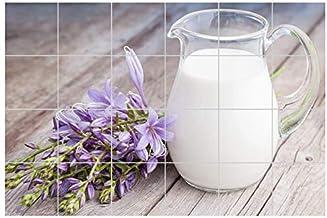 Tegelstickers melk kan paars bloemen keuken zelfklevende kleeffolie tegels afbeelding voedsel keuken tegels sticker 8T365,...