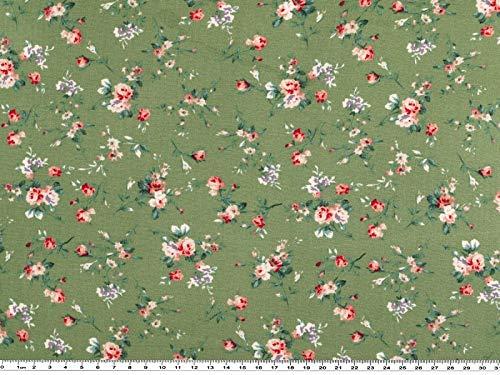A partire da 1 m: stampa floreale, viscosa, verde, multicolore, larghezza 140 cm