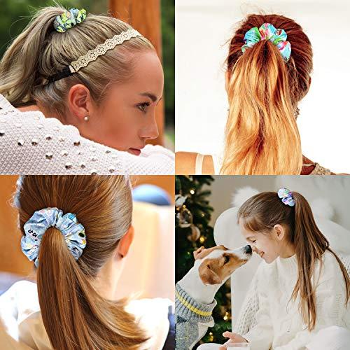 PANTIDE 18Pcs VSCO Scrunchies VSCO Starter Stuff Kit-Cute VSCO Pattern Designed Hair Scrunchies, Colorful Polyester Pongee Ponytail Holder, Elastic Hair Ties Ropes Accessories for Girls 5