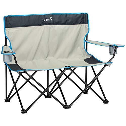 skandika Double Folding Chair - Chaise Siège de Camping - 2 Personnes - Poids Max. 200 kg - Pliable - Sac de Transport
