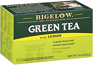Bigelow Green Tea with Lemon Tea Bags 20-Count Box, (Pack of 6), Caffeinated 120 Tea Bags Total