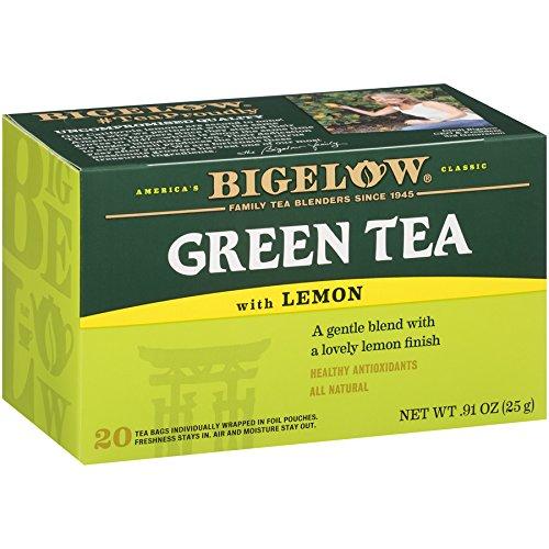 Bigelow Green Tea with Caffeinated Lemon Tea Bags 20-Count Box -...