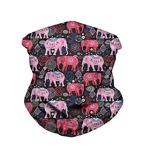 Elephant Aztec Bandana Multifonction Guêtres de Cou Écharpe sans Couture Gaiter Neck Rapide Écharpe Salive Dust UV Outdoor Cycling Camping Randonnée