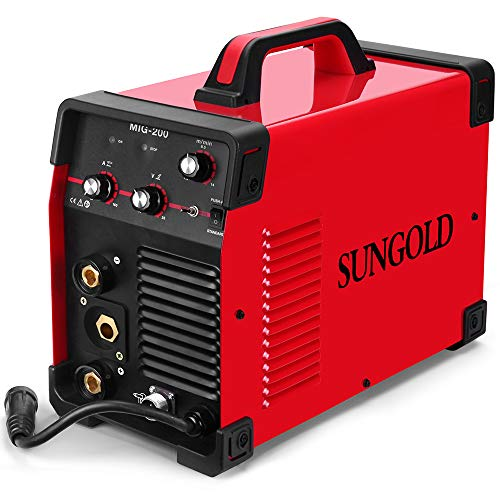 Product Image of the SUNGOLDPOWER 200Amp MIG MAG ARC MMA Stick DC Welder 110/220V Dual Voltage IGBT Inverter 200A Aluminum Welding Soldering Machine Gas Shielded/Gasless Flux Cored Wire Solid Core Wire Welding Equipment