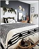 Moroccan Blanket White and black Stripes,handwoven throw,tassel blankets, Pom Poms, Boho Blanket, Couverture marocaine,Pom Pom Blankets