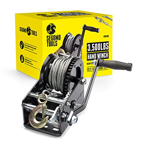 Segomo Tools Heavy Duty 3500 Pound Manual, Two Way Ratchet 32.2 Foot Long Wire Black Hand Winch - HW3500