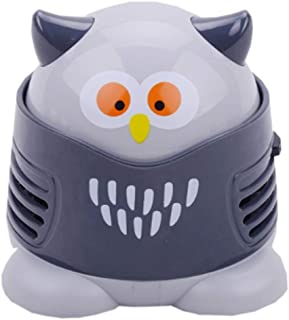 Portable Cartoon Mini Owl Table Dust Vacuum Cleaner Table Cleaning Assistance Keyboard Cleaning Dust Sweeper for Home Offi...
