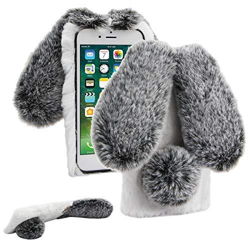 Cestor Plüsch Kaninchen Häschen Ohren HandyHülle für Samsung Galaxy A20/A30,Niedlich Winter Warm Pelzig Weich Flauschige Faux Pelz Glitzer Diamant Stoßfest Silikon Hülle,Grau + Weiß