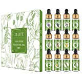Essential Oil Set for Diffuser Aromatherapy - Jelife Top 12 Natural Essential Oil with Dropper for Improve Sleep, Anxiety Relief,Humidifier, Massage,Yoga,Bath, Ideal Christmas Gifts for Women Men, 6ml