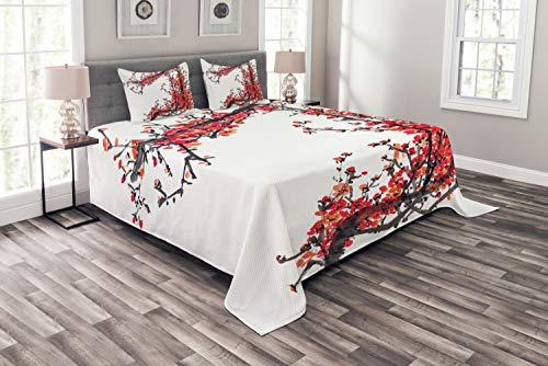 ABAKUHAUS Japan Tagesdecke Set, Kirschblüte Sakura, Set mit Kissenbezügen Waschbar, für Doppelbetten 220 x 220 cm, Braun Rot