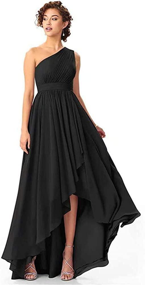 Kalos Dress Shop One Shoulder Bridesmaid Dresses High Low Long A Line Formal Evening Gown with Pockets