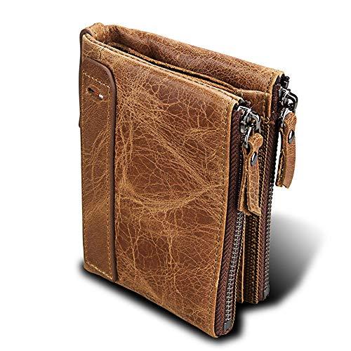 Jianghuayunchuanri Stilvolle Herren Geldbörse Herren-Leder-Mappen-Reißverschluss-Pass-Münzenträger-Organisator-Halter Business Casual Wallet Geschenk für Männer