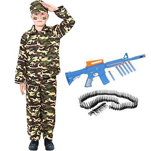 Disfraz de ejército para niños con pistola de juguete y cinturón de balas, disfraz de soldado de combate, uniforme militar para niños para la caja de disfraces y fiestas de disfraces (Pequeño)