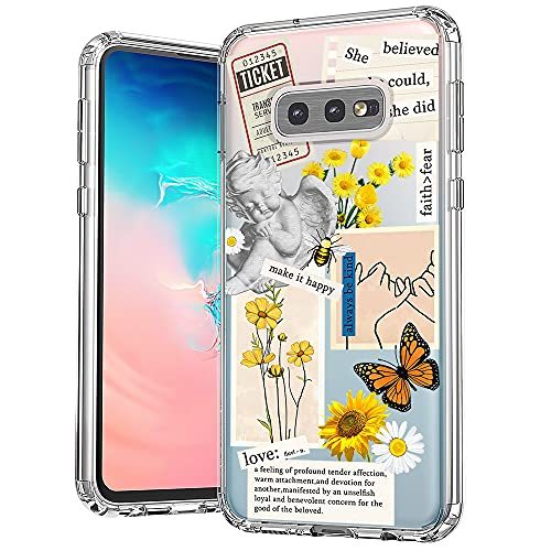 MOSNOVO Case for Samsung Galaxy S10e, Vintage Collage Sunflower Butterfly Slim Clear Case Design with Shockproof TPU Bumper Protective Cover Case for Women Girls