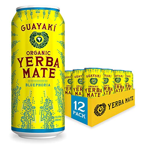 Guayaki Yerba Mate | Organic Alternative to Herbal Tea, Coffee and Energy Drink | Bluephoria | 150 mg of Caffeine, 15.5 Fl Oz (Pack of 12)