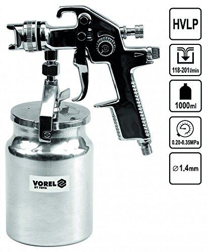 Spritzpistole HVLP Farb-Lackierpistole Druckluft Behälter 1000 ml 1,4 mm