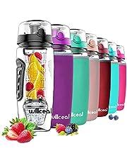 Willceal Waterfles met fruitfilter, 945 ml, duurzaam met afneembare ijsgelbal, groot, BPA-vrij Tritan, flip-deksel, dicht design, sport, camping