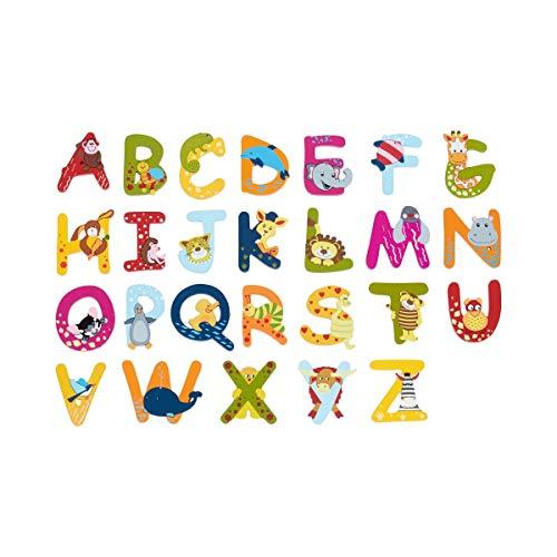 solini Holzbuchstaben mit Tiermotiven - Buchstaben aus Holz für Kinderzimmertüren - farbenfrohe Gestaltung - für Kinder ab 3 Jahre - Mehrfarbig