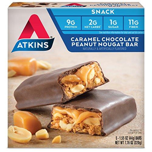 Atkins Snack Bar, Caramel Chocolate Peanut Nougat, Keto Friendly, 7.76 Ounce (Pack of 1)