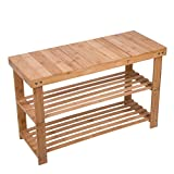 HBlife Natural Bamboo Shoe Bench 3 Tier Wooden Shoe Rack Organizer Entryway Storage Bedroom