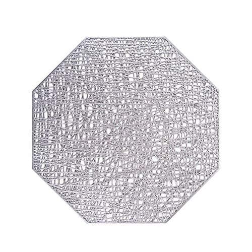 LDGR PVC Tischsets Octagonal Hohlwasserdicht Nicht Beleg Setzer Waermeisolierten Pad Coaster Home Decoration Abendessen Platzdeckchen (Color : Sliver)