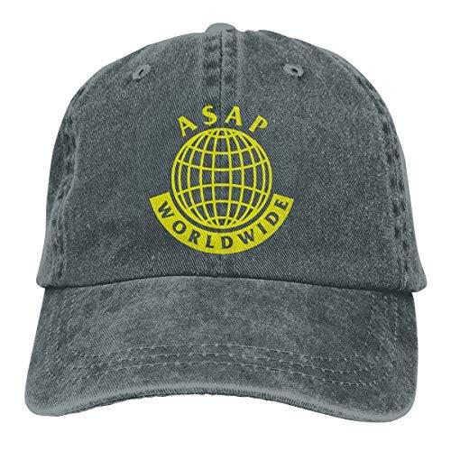Amerltees ASAP Mob World Wide Logo1 Unisex Vintage Washed Distressed Baseball-Cap Twill Adjustable Dad-Hat Deep Heather